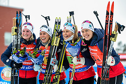 March 16, 2019 - –Stersund, Sweden - 190316 Synnøve Solemdal, Ingrid Landmark Tandrevold, Tiril Eckhoff and Marte Olsbu Røiseland of Norway celebrate afterthe Women's 4x6 km Relay during the IBU World Championships Biathlon on March 16, 2019 in Östersund..Photo: Petter Arvidson / BILDBYRÃ…N / kod PA / 92268 (Credit Image: © Petter Arvidson/Bildbyran via ZUMA Press)