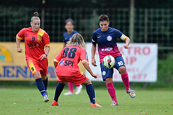 Manja Rogan of ZNK Pomurje vs. Beatrice Tarașila of Olimpia Cluj Napoca during the UEFA Women's Champions League Qualifying Match between ZNK Teleing Pomurje (SLO) and Olimpia Cluj (ROU) at Sportni Park on August 16, 2015 in Beltinci, Slovenia. Photo by Mario Horvat / Sportida