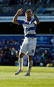 Charlie Austin's shot comes very close during the Sky Bet Championship match between Queens Park Rangers and Cardiff City at the Loftus Road Stadium, London, England on 15 August 2015. Photo by Andy Walter.