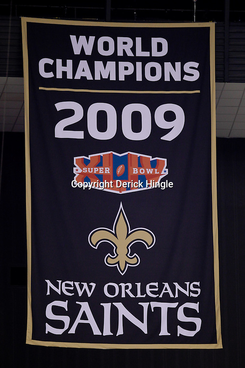 September 9, 2010; New Orleans, LA, USA;  A banner commemorating the New Orleans Saints Super Bowl XLIV championship is seen during the NFL Kickoff season opener at the Louisiana Superdome. The New Orleans Saints defeated the Minnesota Vikings 14-9.  Mandatory Credit: Derick E. Hingle