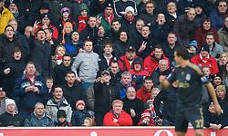 STOKE, ENGLAND - Saturday, January 16, 2010: Stoke City supporters hurl abuse at Liverpool's Philipp Degen during the Premiership match at the Britannia Stadium. (Photo by David Rawcliffe/Propaganda)