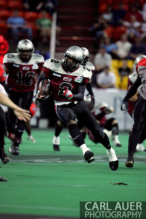 6-28-2007: Anchorage, AK - Alaska's Demarcus Morris (2) makes a break down the field in the Alaska Wild 47 to 53 loss to the CenTex Barracudas at the Sullivan Arena...