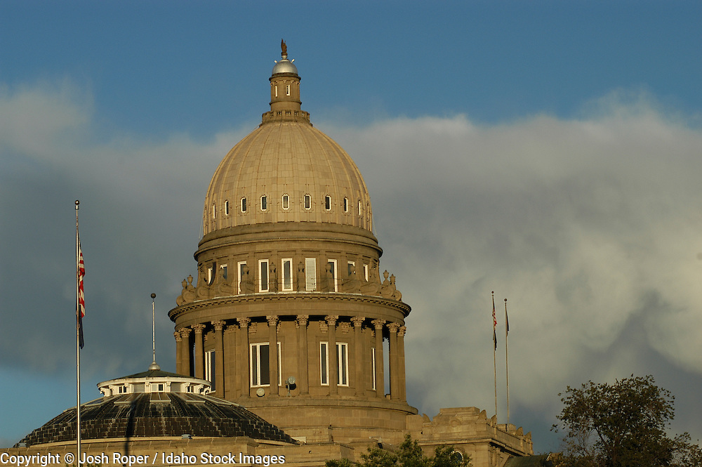 Idaho Boise. Capitol building with clouds at sunset.
