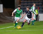 24th January 2018, Dens Park, Dundee, Scottish Premiership, Dundee versus Hibernian; Hibernian's Lewis Stevenson and Dundee's Paul McGowan