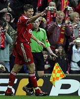Photo: Paul Thomas.<br /> Liverpool v Sheffield United. The Barclays Premiership. 24/02/2007.<br /> <br /> Steven Gerrard of Liverpool celebrates his goal.
