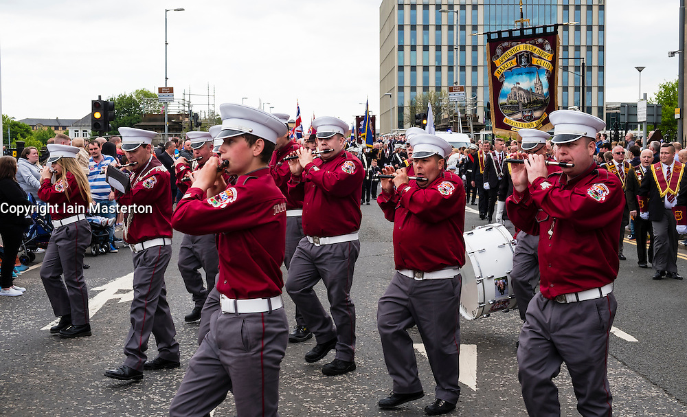 Flute band on traditional Orange Walk parade in central Glasgow , Scotland, United Kingdom