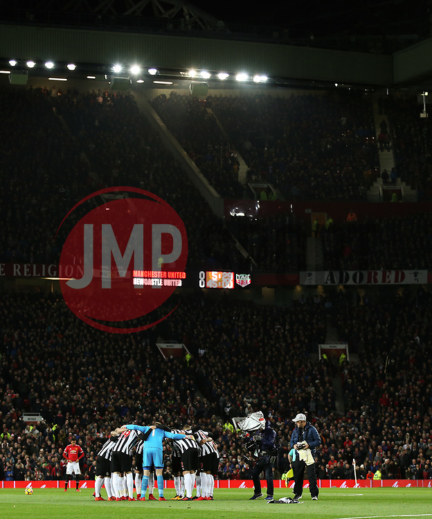 Newcastle United players huddle before kick off - Mandatory by-line: Matt McNulty/JMP - 18/11/2017 - FOOTBALL - Old Trafford - Manchester, England - Manchester United v Newcastle United - Premier League