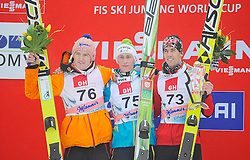 23.03.2014, Planica, Ratece, SLO, FIS Weltcup Ski Sprung, Planica, Siegerehrung,Großschanze, Herren Einzel, im Bild Od lewej Sevein Frenund, Peter Prevc, Ander Bardal Zwyciezcy konkursu / Od lewej Sevein Frenund , Peter Prevc , Ander Bardal Zwyciezcy konkursu on podium of the FIS Ski jumping Worldcup Cup finals at Planica in Ratece, Slovenia on 2014/03/23. EXPA Pictures © 2014, PhotoCredit: EXPA/ Newspix/ Irek Dorozanski<br /> <br /> *****ATTENTION - for AUT, SLO, CRO, SRB, BIH, MAZ, TUR, SUI, SWE only*****