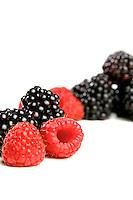 Studio shot of raspberries and blackberries