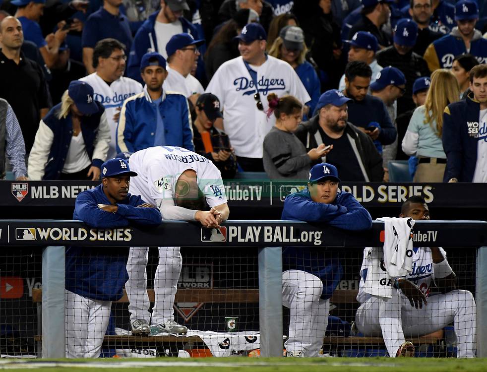November 1, 2017 - Los Angeles, California, U.S. - Los Angeles Dodgers' Joc Pederson (31) reacts in the dugout in the 9th inning of game seven of a World Series baseball game at Dodger Stadium on Wednesday Nov. 1, 2017 in Los Angeles. (Photo by Keith Birmingham, Pasadena Star-News/SCNG) (Credit Image: © San Gabriel Valley Tribune via ZUMA Wire)