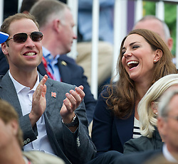 Duke and Duchess of Cambridge watching Zara Phillips competing  at  the show jumping event at the London 2012 Olympics , Tuesday 31st July 2012 Photo by: i-Images