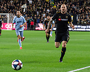 LAFC defender Jordan Harvey (2) during a MLS soccer match against the Sporting KC in Los Angeles, Sunday, March 3, 2019. LAFC defeated Sporting KC, 2-1. (Ed Ruvalcaba/Image of Sport)