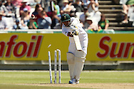 Imran Tahir is clean bowled during the 2nd day of the 1st test match between South Africa and Australia held at Sahara Park Newlands Stadium,Cape Town, South Africa on the 10th November 2011..Photo by Ron Gaunt/SPORTZPICS