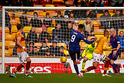 Sean Clare of Hearts comes close to taking the lead during the Ladbrokes Scottish Premiership match between Motherwell and Heart of Midlothian at Fir Park, Motherwell, Scotland on 17 February 2019.