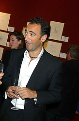 Impersonater ALISTAIR McGOWAN at a private view and auction of a collection of paintings, drawings and doodles by well known personalities to mark the Book launch of Ackroyd's Ark in Christie's, 8 King Street, St.James's, London on 20th September 2004 in aid of Tusk Trust.<br /><br />NON EXCLUSIVE - WORLD RIGHTS