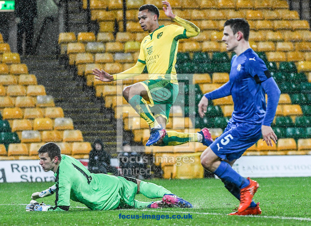 Joshua Murphy of Norwich City U23 scores his goal v Dinamo Zagreb U23 during the Premier League International Cup Quarter-Final match at Carrow Road, Norwich<br /> Picture by Matthew Usher/Focus Images Ltd +44 7902 242054<br /> 27/02/2017