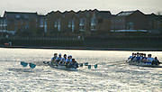 Putney, London.  Pre Varsity Boat race fixture. The boats start the second Trial, from a rolling Start,  Cambridge UBC. [Blue Boat] vs GBR U23 crew raced over parts of the Championship Course, [Putney to Mortlake].  Race divided into two trials. 1. Start to Hammersmith Pier. 2. Chiswick Eyot to Finish. River Thames. Saturday   26/02/2011 [Mandatory Credit -Karon Phillips/Intersport Images]..Crews:.CAMBRIDGE [Blue Boat] Bow,  Mike THORP, Joel JENNINGS,  Dan RIX-STANDING,  Hardy CUBASCH,  George NASH,  Geoff ROTH , Derek RASMUSSEN, Stroke David NELSON and Cox Tom FIELDMAN..GB Under-23s Bow, Oliver STAITE, Jack CADMAN,  Alex TORBICA, Alex DAVIDSON, Matt TARRANT, Ertan HAZINE,  Mason DURANT,  Stroke Scott DURANT and Cox Max GANDER ...