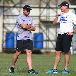 Johan Pretorius Head Strength & Conditioning Coach of the Cell C Sharks and Sean Everitt (Assistant Coach) of the Cell C Sharks during The Cell C Sharks training session at Growthpoint Kings Park in Durban, South Africa. 21 August 2017(Photo by Steve Haag)<br /> <br /> images for social media must have consent from Steve Haag