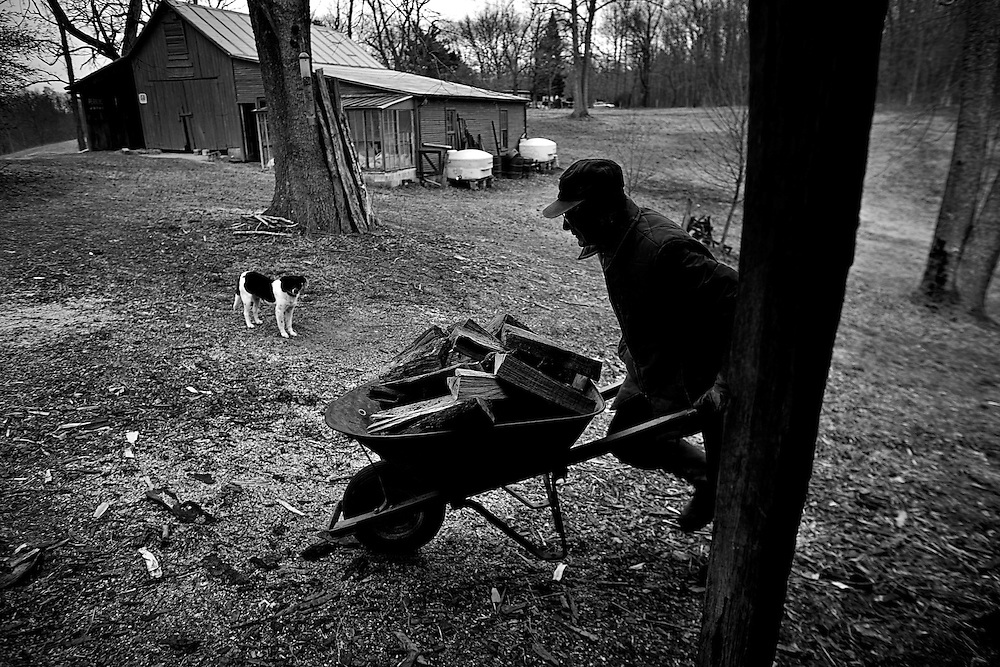 Ed Perkins pushes a wheelbarrow full of chopped wood to heat his house in New Marshfield, OH on February 10, 2008. Ed is a sustainable living farmer who heats his house with wood from his farm and sells his produce at the local Farmer's Market in Athens, OH.