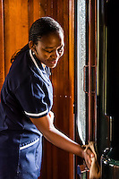 Train staff, luxury Rovos Rail train between Pretoria and Cape Town, South Africa.