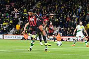Jermain Defoe (18) of AFC Bournemouth and Junior Stanislas (19) of AFC Bournemouth get in each others way and miss a chance to score a goal during the EFL Cup 4th round match between Bournemouth and Norwich City at the Vitality Stadium, Bournemouth, England on 30 October 2018.