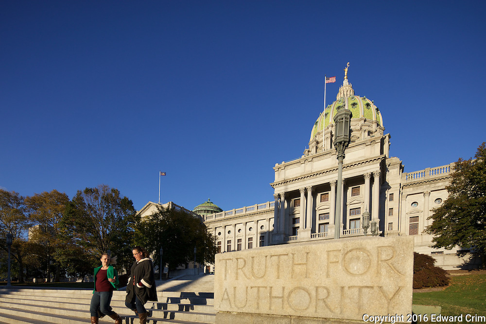 The western elevation of the Pennsylvania capitol in Harrisburg. Truth for Authority.