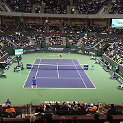 March 1, 2014, Indian Wells, California: <br /> Jim Courier and John McEnroe play each other during the McEnroe Challenge for Charity presented by Esurance in Stadium 2 at the Indian Wells Tennis Garden. <br /> (Photo by Billie Weiss/BNP Paribas Open)