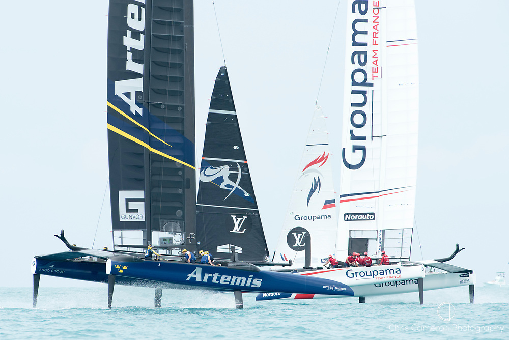 The Great Sound, Bermuda. 3rd June 2017. Artemis Racing (SWE) and Groupama Team France in pre start for their America's Cup Qualifiers Round Robin two match. Artemis won the race.