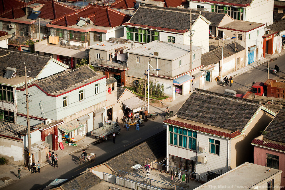 """Newer homes in the """"New City,"""" part of the expansion of Yangzhou, China, a suburb city of Shanghai and major producer of photovoltaic cells for the renewable energy solar power industry."""