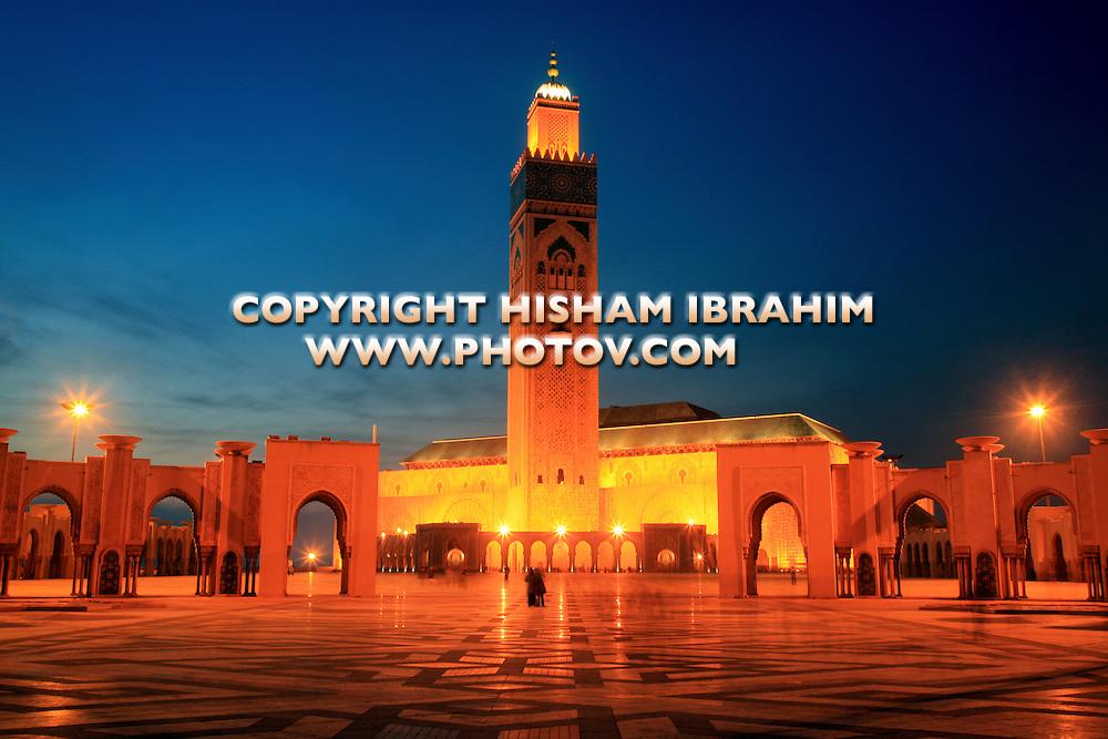 Hassan II Mosque illuminated at dusk, Casablanca, Morocco.