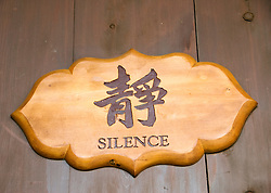 Sign calling for silence at Chi Lin Nunnery in Hong Kong China