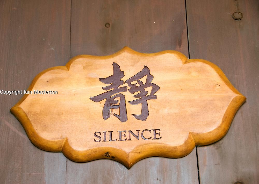 Sign calling for silence at Chi Lin Nunnery in Hong Kong China