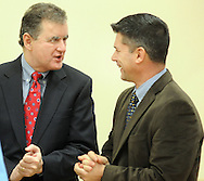 Former Congressman Mike Fitzpatrick (left) and Bucks County Commissioner Rob Loughery chat after the grand opening of the Warminster YMCA Tuesday, January 31, 2017 in Warminster. Pennsylvania. (Photo by William Thomas Cain)