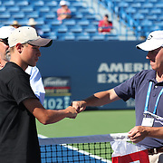 August 19, 2014, New Haven, CT:<br /> The USTA Sectional Winners are introduced on court on day five of the 2014 Connecticut Open at the Yale University Tennis Center in New Haven, Connecticut Tuesday, August 19, 2014.<br /> (Photo by Billie Weiss/Connecticut Open)