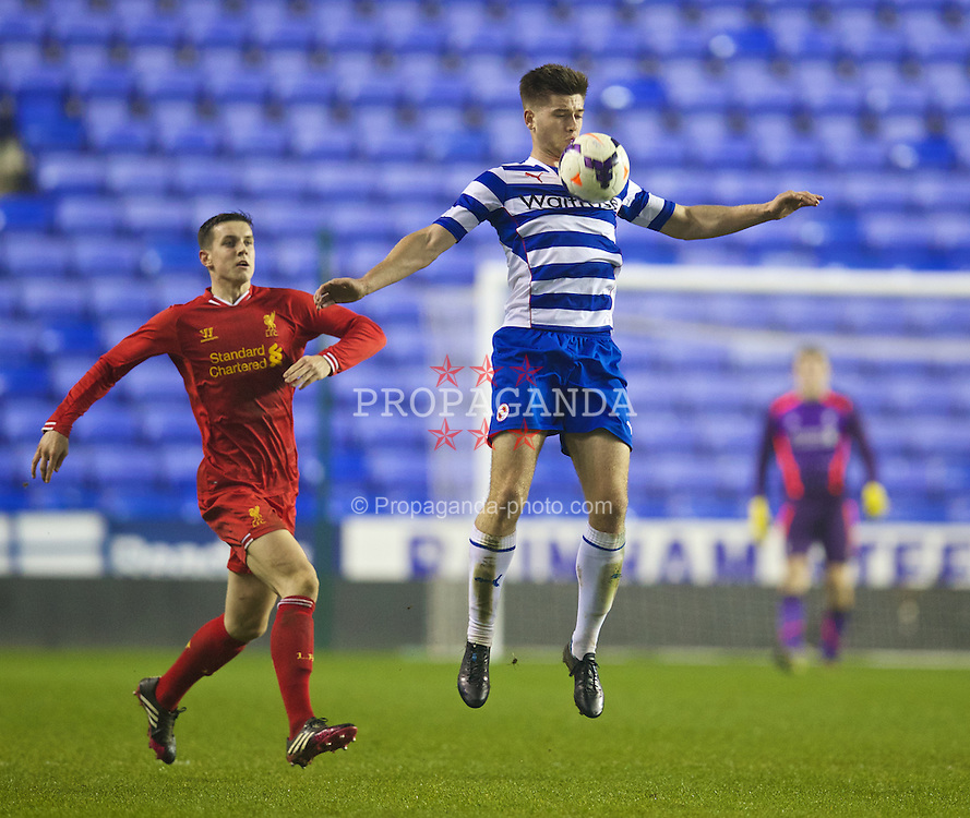 READING, ENGLAND - Wednesday, March 12, 2014: Reading's Harry Cardwell in action against Liverpool during the FA Youth Cup Quarter-Final match at the Madejski Stadium. (Pic by David Rawcliffe/Propaganda)