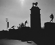 London, Great Britain,   Statues at the Lion Gate. 2015 Rugby World Cup Final. New Zealand vs Australia,, Twickenham Stadium,London. England,, Saturday  31/10/2015. <br /> [Mandatory Credit; Peter Spurrier/Intersport-images] Black and White Film, Kodak Tri-X [rated 320 ASA], Camera Contax G2 with Ziess 28mm f2.0.
