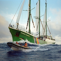 RAINBOW WARRIOR II en route to Moruroa atoll to protest against French nuclear testing.
