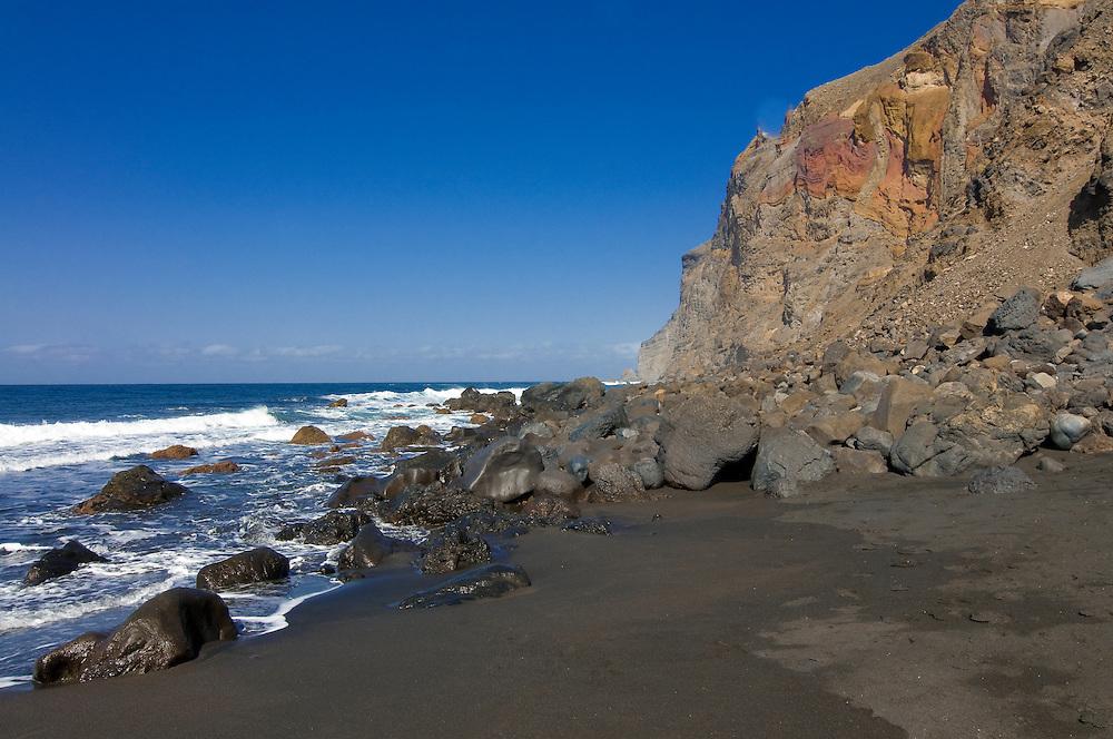 The volcanic sand beach of Valle Gran Rey,La Gomera, Canary Islands, Spain