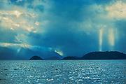Queen Charlotte Mountains (Insular Mountains). Pacific Ocean. Graham Island. SKidegate. , Haida Gwaii (formerly the Queen Charlotte Islands), British Columbia, Canada