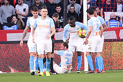 February 24, 2019 - Rennes, France - 09 MARIO BALOTELLI (OM) - 28 VALERE GERMAIN (OM) - BLESSURE - JOIE - FAIR PLAY (Credit Image: © Panoramic via ZUMA Press)