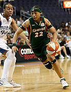 Betty Lenox of the Seattle Storm drives to the basket during this WNBA game between the Mystics and the Storm at the Verizon Center in Washington, DC. The Storm won 73-71.  July 23, 2006  (Photo by Mark W. Sutton)