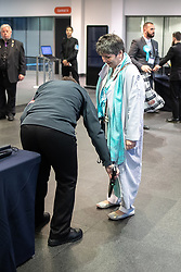 © Licensed to London News Pictures . 26/05/2019. Manchester, UK. Brexit Party's CLAIRE FOX is searched with a security wand as she arrives . The count for seats in the constituency of North West England in the European Parliamentary election , at Manchester Central convention centre . Photo credit: Joel Goodman/LNP