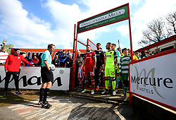 Accrington Stanley and Exeter City wait in the tunnel - Mandatory by-line: Robbie Stephenson/JMP - 14/04/2018 - FOOTBALL - Wham Stadium - Accrington, England - Accrington Stanley v Exeter City - Sky Bet League Two