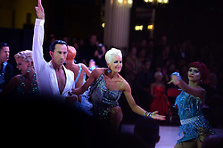 © Licensed to London News Pictures. Winners Britain's Michael Malitowski and Joanna Leunis compete in the Latin section at the British Ballroom dance championships at the Winter Gardens in Blackpool 28-05-2015. The first Blackpool Dance Festival was held  in 1920 now has 60 countries represented with total number of 2,950 couples competing. Photo credit: Nigel Roddis/LNP