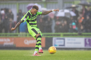 Forest Green Rovers Keanu Marsh-Brown(7) shoots at goal during the EFL Sky Bet League 2 match between Forest Green Rovers and Crewe Alexandra at the New Lawn, Forest Green, United Kingdom on 18 November 2017. Photo by Shane Healey.