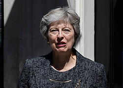 © Licensed to London News Pictures. 24/07/2018. London, UK. Prime Minister Theresa May outside 10 Downing Street. Photo credit: Rob Pinney/LNP