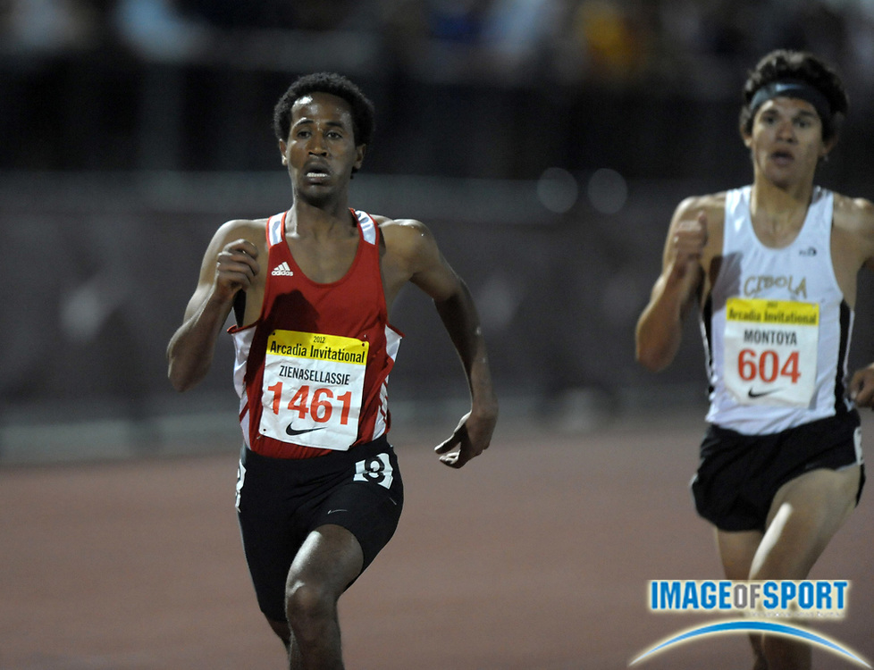 Apr 7, 2012; Arcadia, CA, USA; Futsum Zienasellassie of North Central defeats Bernie Montoya of Cibolla to win the boys 3,200m, 8:47.75 to 8:48.25,in the Arcadia Invitational at Arcadia High.