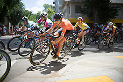 Heather Fisher (USA) of Rally Cycling Team leans into a corner during the fourth, 70 km road race stage of the Amgen Tour of California - a stage race in California, United States on May 22, 2016 in Sacramento, CA.