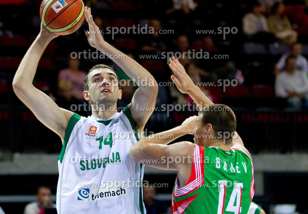 Mirza Begic of Slovenia vs Tencho Banev of Bulgaria during basketball match between National teams of Slovenia and Bulgaria in Group D of Preliminary Round of Eurobasket Lithuania 2011, on August 31, 2011, in Arena Svyturio, Klaipeda, Lithuania.  (Photo by Vid Ponikvar / Sportida)