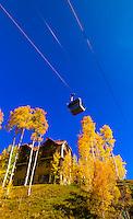 Gondola going from the town of Telluride to Telluride Mountain Village, Colorado USA